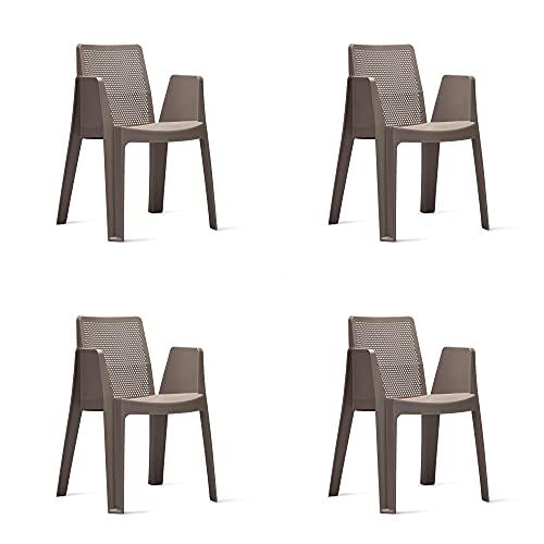 RESOL Play Set 4 Sillas de Jardín Apilables con Reposabrazos y Respaldo Ventilado | Terraza, Patio, Balcón, Comedor Exterior | Ligera y Resistente | Diseño Moderno - Color Marrón Chocolate