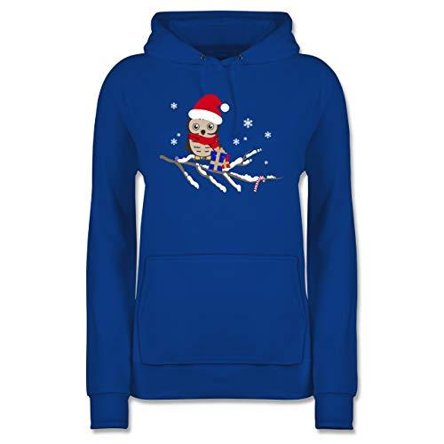 Weihnachten & Silvester - Weihnachtseule Eule - L - Royalblau - Weihnachtspullover Damen Pinguin - JH001F - Damen Hoodie und Kapuzenpullover für Frauen