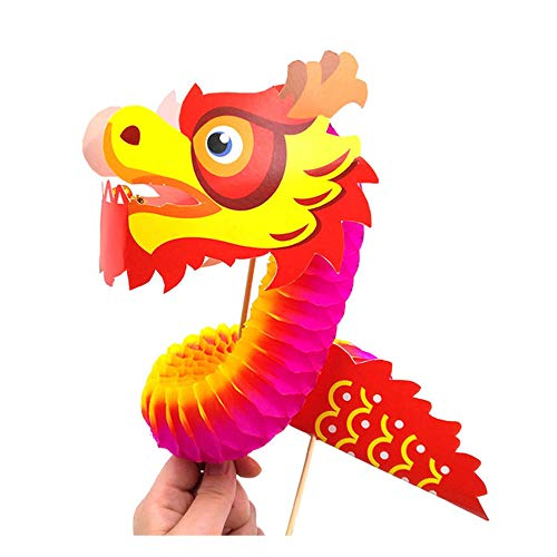 Kit de Loisir créatif Enfant et Adult- Nouvel an Chinois décoration- Feng Shui Zen -DIY Dragon 3D- Pack de 4 Kits