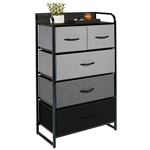 mDesign Cómoda para Dormitorio con 5 cajones – Mueble con cajones Alto para el salón, la habitación o el Pasillo – Cajonera de Metal, MDF y Tela para Guardar Ropa Gris/Negro