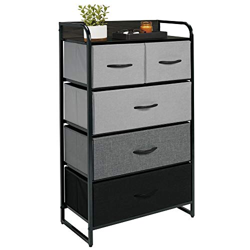 mDesign Dresser Storage Tower - Sturdy Steel Frame, Wood Top & Handles, Easy Pull Fabric Bins - Organizer Unit for Bedroom, Hallway, Entryway, Closets - 5 Drawers - Gray/Multi/Black