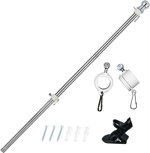 HOSKO 6FT Flag Pole with Bracket, Ameican US Flag Pole Kits for House,Stainless Steel Pole Rustproof Suit for Commercial Yard or Garden Decoration (Black Bracket