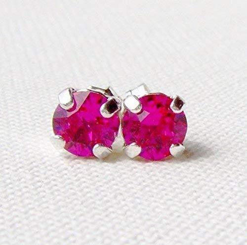 6mm Fuchsia hot pink rhinestone stud earrings made with Swarovski crystals