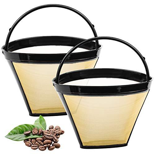 DESON 2 Stück Kafeefilter Wiederverwendbar Dauerfilter Filtergröße 4 mit Edelstahlgewebe Für 8-12 Tassen Kaffee Kunststoff Schwarz