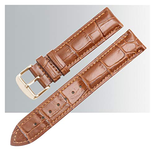 MGHN Correa de Reloj Cuero Bandas de Reloj de Cuero Pulido Hebilla Reloj de Banda Correa de liberación rápida Pulseras de reemplazo Acolchadas (Color : Brown Gold Buckle, Size : 17mm)