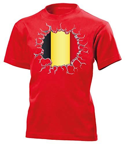 Belgien Belgium Belgique Fanshirt Fussball Fußball Trikot Look Jersey Kinder Kids Unisex t Shirt Tshirt t-Shirt Fan Fanartikel Outfit Bekleidung Oberteil Hemd Artikel