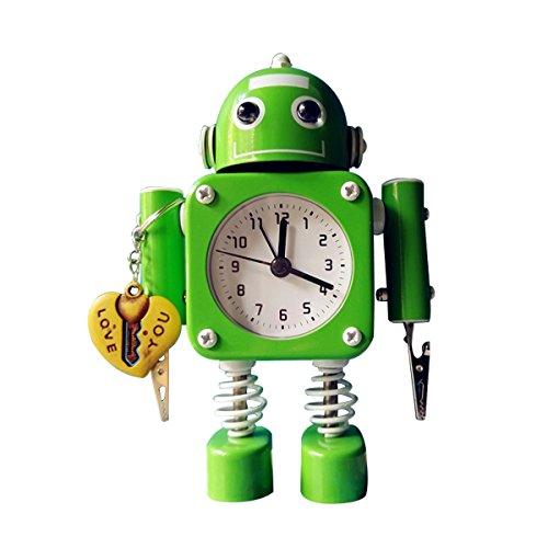 Time-Clock Store Analogique de Bureau Alarme réveil - Réveil à Piles Silent avec Lampe Clignotante et Pince à Main