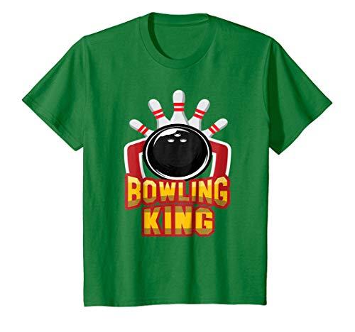Kids Bowling King Shirt Men's Bowling T-shirt for Bowler Gift Tee 4 Kelly Green