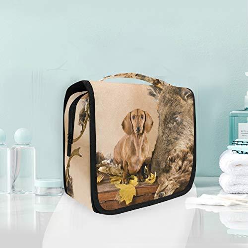 Make-up cosmetische tas teckel met jacht trofee draagbare opslag reizen toilettas