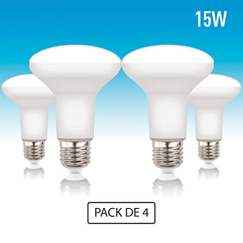 Volton - Pack 4 Bombillas Reflectoras R90 LED E27 15W 1350Lm 3000K Angulo 120º, no Regulable