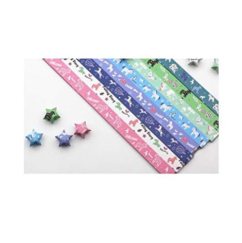 Farbdruck Stern Origami, Glücksstern handgemachtes fünfzackiges Stern gefaltetes Papier, Stern Papier-A7.540 Blatt