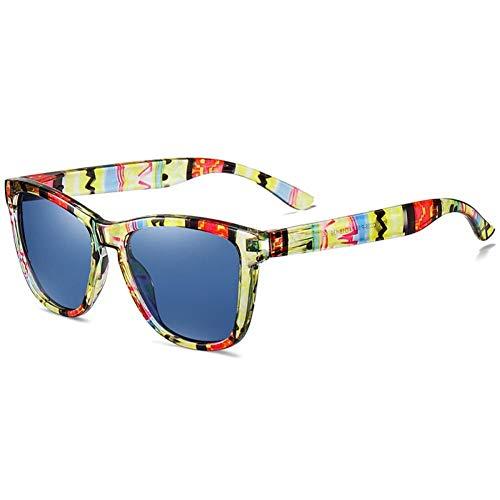 ZZOW Gafas De Sol Polarizadas Cuadradas De Moda para Hombres, Gafas De Conducción para Deportes Al Aire Libre, Montura con Patrón, Lentes con Revestimiento De Espejo, Gafas De Sol para Mujeres