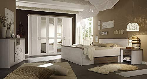 Die Zimmer sind modern und warm. Komfortables Betthöhe macht es einfach aus dem Bett raus, komplette Garderobe aus einem Schlafzimmer mit einem Bett Frühling,White