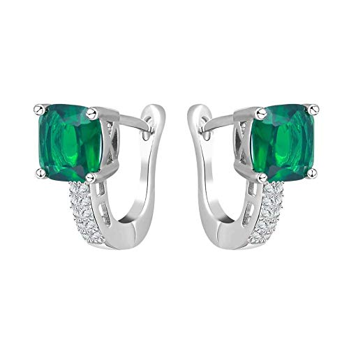 ROMAD Luxury - Pendientes de Clip para Mujer, Color Verde Esmeralda