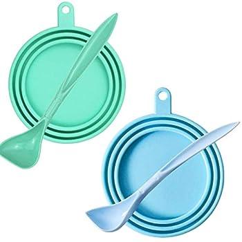 SHFSDHF 2 pièces Couvercle en Silicone pour Nourriture pour Chiens Couvercle Silicone Chat Chien Nourriture Animal Couvercles avec 2 cuillères Convient à Presque Toutes Les boîtes de Conserve