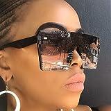 LUOSHUI Oversize Square Sonnenbrille Frauen Mode Flach Top Gradient Gläser Männer Black Black