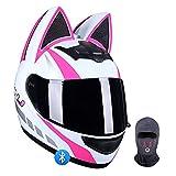 HOMFLOW Casco De Moto Modular Bluetooth Integrado Orejas De Gato Lindo Cascos ECE Homologado con Anti Niebla Visera Doble para Adultos Mujeres Y Hombres Y Mascara Facial