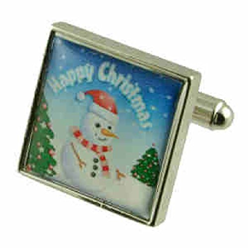 Bonhomme de neige Design lourde solide Argent sterling 925 Boutons de manchette + cadeau personnalisé Message Boîte à boutons de manchette