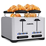 Toaster 4 Slice, Stainless Steel Toasters with Bagel, Cancel and Defrost Function, Dual Control, 1.6 inch Extra-wide Slot, 7 Toasting Levels Toaster with Removable Crumb Trays & Warming Rack 1500W TA1