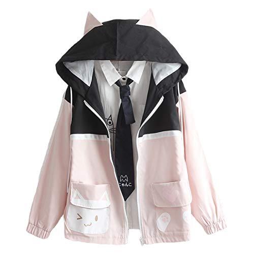 Damen-Kawaii-Jacke, süße Katze, Tasche, farblich passender Kapuzenpullover mit japanischem Aufdruck, langärmelig, Reißverschluss Gr. M, Schwarz