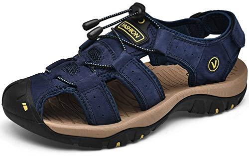 KEENPACE Sandalias Deportivas para Hombre Al Aire Libre Cuero Verano Playa Senderismo Zapatos