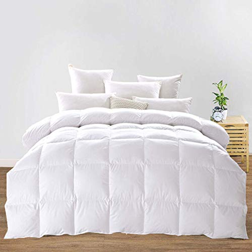 Goose Feather Down Comforter Hypoallergenic Fluffy Duvet Insert 650 Fill Power Breathable Ultra-Soft Cotton Fabric Cover All Season Use Solid White,200×230cm