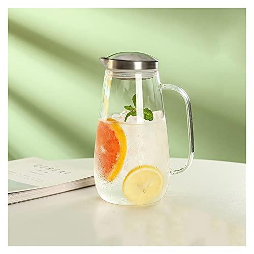 Jarra de agua de vidrio borosilicato con mango antiquemaduras, hervidor de gran capacidad para el hogar, zumo, leche, bebidas calientes y frías, jarra hervidor (tamaño: grande)