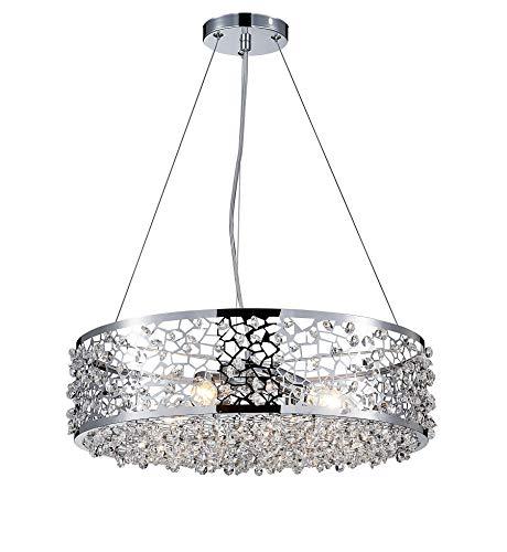 Saint Mossi Anhänger Kronleuchter Edelstahlnetz Lampenschirm mit Kristallglasperlen, Lampendurchmesser 46cm