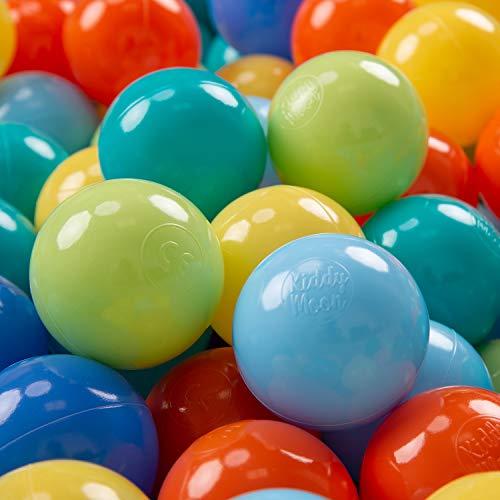 KiddyMoon 300 ∅ 7Cm Kinder Bälle Spielbälle Für Bällebad Baby Plastikbälle Made In EU, Hellgrün/Orange/Türkis/Blau/Baby Blau/Gelb