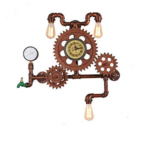MJSM Light Wandlamp, retro tandwiel wandlamp, woonkamer, restaurant, café, loft, industrieel water, wind, creatieve decoratieve klok, wandlamp