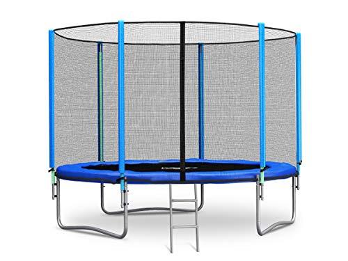Neo-Sport Trampolin 305 cm 10 ft mit Sicherheitsnetz Außennetz und Einstiegsleiter Gartentrampolin