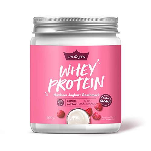 GymQueen Whey Protein-Pulver Himbeer-Joghurt 500g, Protein-Shake für die Fitness, Whey-Pulver kann den Muskelaufbau unterstützen, Hochwertiges Eiweiss-Pulver mit 73g Eiweiß, ohne Zuckerzusatz