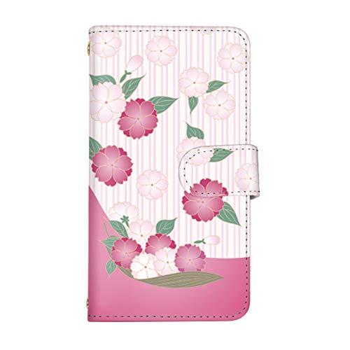 スマ通 Galaxy S6 SC-05G 国内生産 ミラー スマホケース 手帳型 SAMSUNG サムスン ギャラクシー エスシックス 【1-ピンク】 桜 q0004-w0110