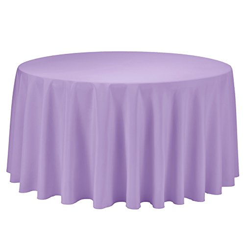 Remedios Round Tablecloth Solid Color Polyester Table Cloth for Bridal Shower Wedding Table – Wrinkle Free Dinner Tablecloth for Restaurant Party Banquet (Lavender, 120 inch)