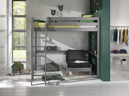 Vipack - Letto a soppalco con superficie di appoggio, 140 x 200 cm, con letto a castello in legno di pino massiccio laccato grigio