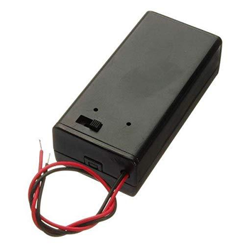 MING-MCZ Duradero Titular de la batería de 9V Paquete de la Caja con el Interruptor de Encendido/Apagado de alimentación Alternar Negro 10Pcs Fácil de Montar