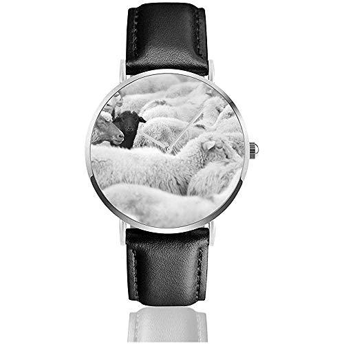 One Black Sheep Herd Whites Tiere Wildlife Nature New Herren Ultra Thin Retro Black Armbanduhren