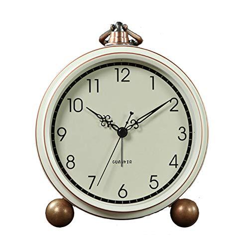 Maxspace Reloj despertador, reloj de mesa retro que no hace tictac, funciona con pilas, pequeño reloj despertador con cuarzo analógico, reloj de escritorio para dormitorios, sala...