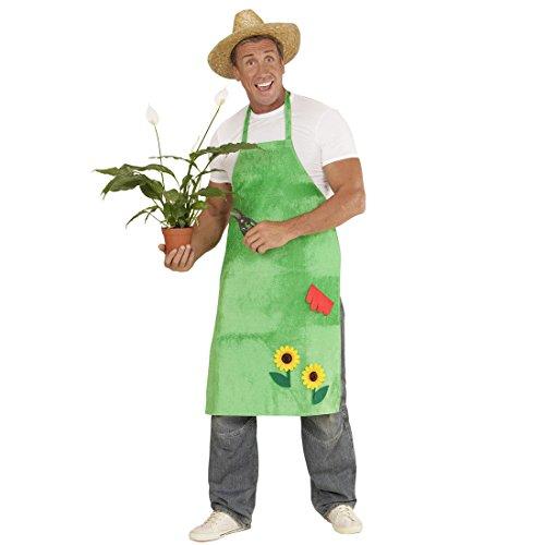 NET TOYS Gärtner Kostüm Gartenschürze mit Sonnenblumen grün Blumen Kittel Schürze Garten Kittelschürze Blumenschürze Gärtnerin Bauer Bäuerin Outfit