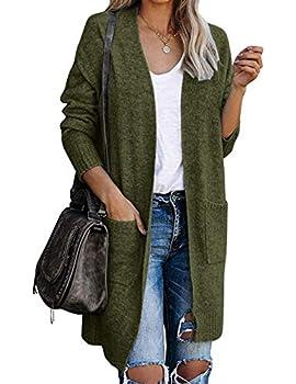 MEROKEETY Women s Basic Open Front Knit Long Sleeve Cardigan Sweater Ribbed Pockets Outwear Green S