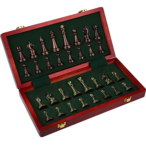 Schach Premium Geschenkbox Metall Bronze Faltbrettspiel Spezielles Schachdekoration Geschenk,52x52x4cm