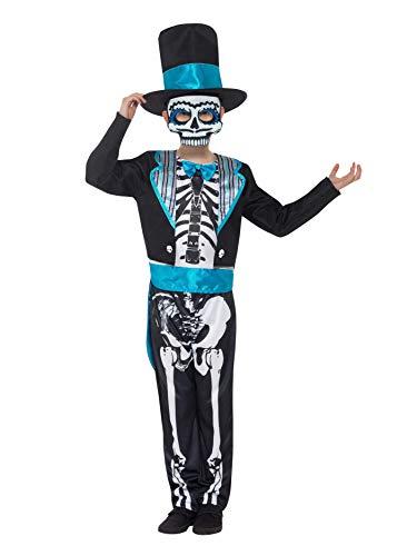SMIFFYS Costume Groom Giorno dei Morti, Nero, con giacca, top, pantaloni, cappello e mas