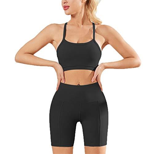 Mujer Mallas Leggins Top Conjuntos, Juego de entrenamiento de mujeres 2 pieza alta cintura desnuda sensación desnuda yoga pantalones cortos leggings espagueti correa deportes sujetador top ropa de gim