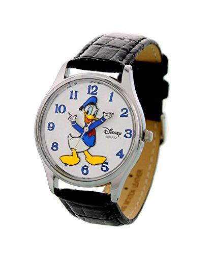 Disney Theme Park Exclusive Donald Duck Mens Watch Chrome Bezel Black Leather Strap