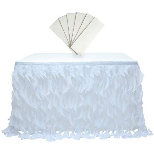 rismart Multicapa Tul Falda de Mesa Tutu Ropa por Cumpleaños Boda Fiestas, Decoración de Cama Blanco,77 H x L 275 cm