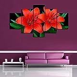 XCSMWJA Sin Enmarcar Pintura 5 Piezas/Set Flores Imagen Modular Moderna Planta De Arte De Pared De Lona A La Decoración del Hogar A