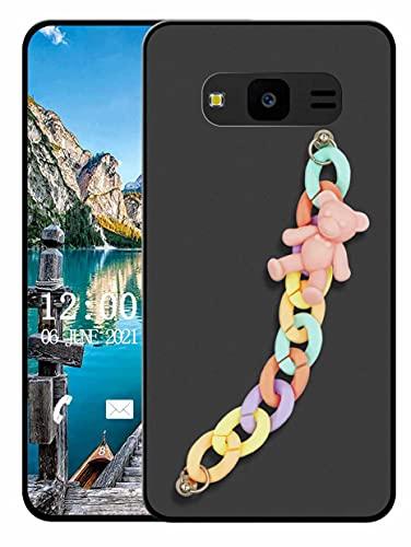 Sunrive Funda Compatible con Samsung Galaxy J7 Neo, Colgante movil con Cuerda Lindo Silicona Mate Slim Fit Gel Carcasa Case Bumper Espalda Cover Pulsera(L Oso 1)