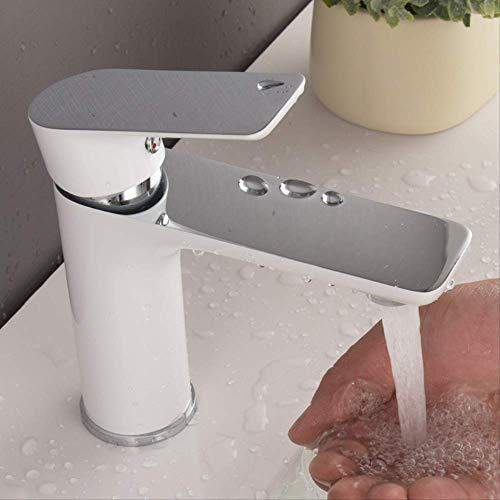Un solo agujero de tirador de cobre completo Grifo de lavabo,Grifo de Cocina de Acero Inoxidable Classic Grifo de Cocina Grifo Monomando Giratorio de Cromo de 360° para Fregadero