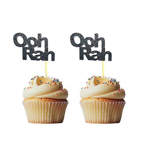 Morndew 24 PCS Glitter Black O o h R a h Cupcake Toppers for Themed Party Birthday Party Wedding Party Decoration