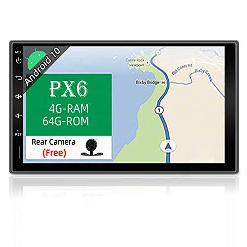 PX6 Android 9.0 Doppio Din Autoradio - GPS 2 Din | 4G-RAM 64G-ROM |Telecamera GRATUITI | Supporto Bluetooth 4.0/HDMI/4K-Video/DAB+/Controllo al Volante/WiFi/Mirror-Link/Carplay - 7 Pollice A72 Cortex